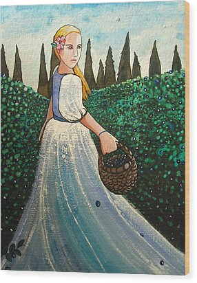 The Blueberry Harvest Wood Print
