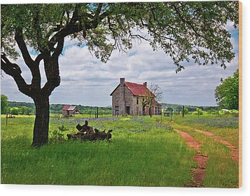 Wood Print featuring the photograph The Bluebonnet House by Linda Unger