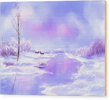 Wood Print featuring the painting The Blues Of Winter by Sena Wilson