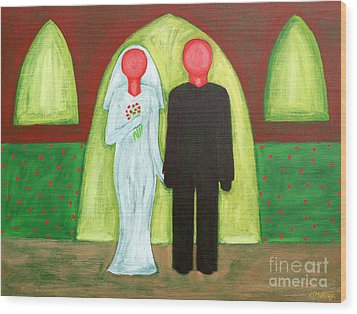The Blushing Bride And Groom Wood Print by Patrick J Murphy