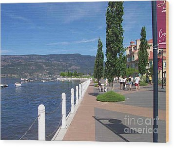 Wood Print featuring the painting The Boardwalk In Kelowna   by Rod Jellison