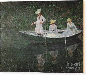 The Boat At Giverny Wood Print by Claude Monet