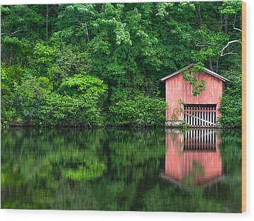 The Boat House At Desoto Falls Wood Print by Phillip Burrow