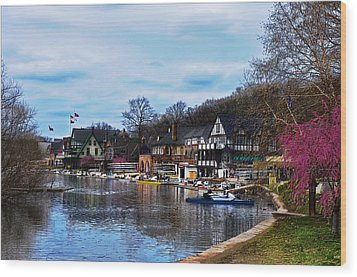 The Boat House Row Wood Print by Bill Cannon