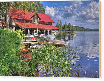 Wood Print featuring the photograph The Boathouse At Covewood by David Patterson