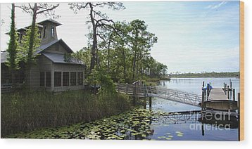 The Boathouse At Watercolor Wood Print by Megan Cohen