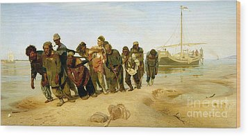 The Boatmen On The Volga Wood Print by Ilya Efimovich Repin