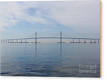The Bob Graham Sunshine Skyway Bridge Tampa Bay Wood Print by Louise Heusinkveld