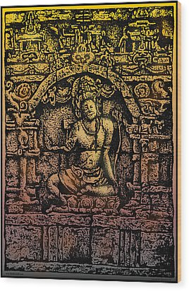 The Bodhisattva Samantabhadra Borobudur Java Wood Print by Larry Butterworth