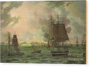 The Bombing Of Cadiz By The French  Wood Print by Louis Philippe Crepin