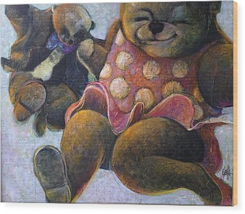 Wood Print featuring the painting The Boogie Woogy Bears by Eleatta Diver