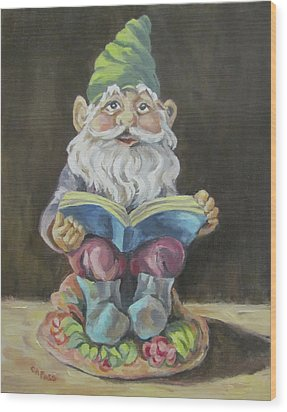 The Book Gnome Wood Print by Cheryl Pass