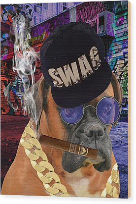 Wood Print featuring the mixed media The Boss Boxer by Marvin Blaine