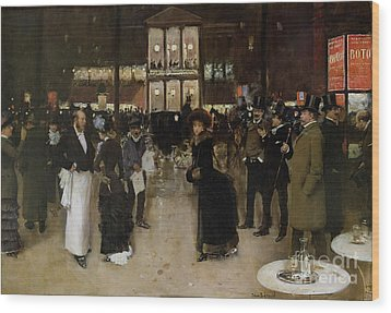 The Boulevard At Night Wood Print by Jean Beraud