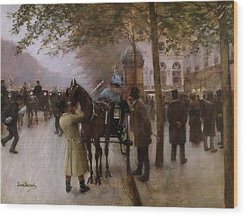The Boulevards Wood Print by Jean Beraud