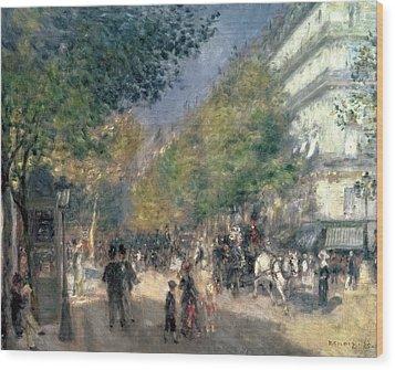The Boulevards  Wood Print by Pierre Auguste Renoir