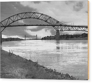 Wood Print featuring the photograph The Bourne And Railroad Bridges by Michelle Wiarda