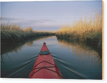 The Bow Of A Kayak Points The Way Wood Print by Skip Brown