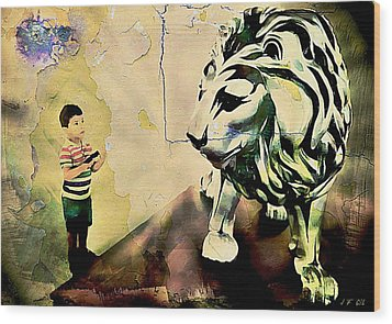 The Boy And The Lion Graffiti Creator,street-art Graffiti,street-art,graffiti Art Street,banksy Art, Wood Print