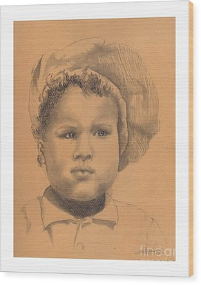 The Boy Who Hated Cheerios -- Portrait Of African-american Child Wood Print