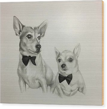 Wood Print featuring the drawing The Boys by Lori Ippolito