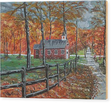 The Brick Country Schoolhouse Wood Print