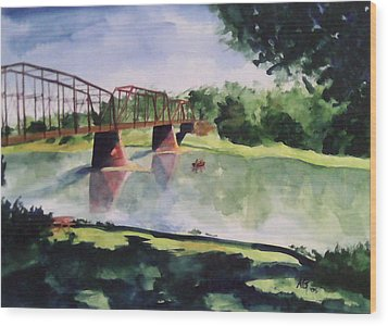 Wood Print featuring the painting The Bridge At Ft. Benton by Andrew Gillette