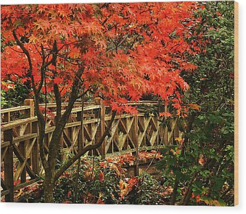 The Bridge In The Park Wood Print
