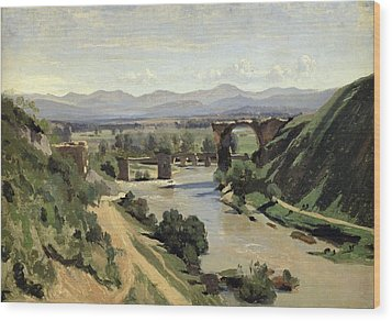 The Bridge Of Augustus Over The Nera Wood Print by Jean Baptiste Camille Corot