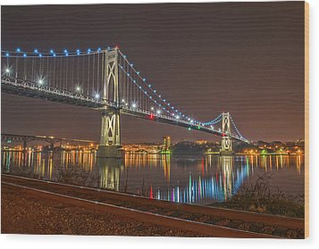 The Bridge With Blue Holiday Lights Wood Print