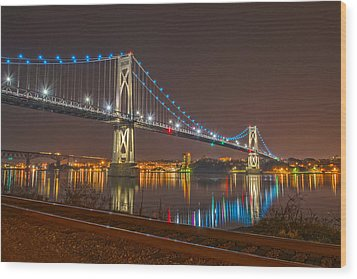 The Bridge With Blue Holiday Lights Wood Print by Angelo Marcialis