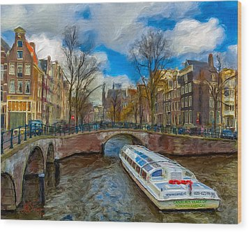 Wood Print featuring the photograph The Bridges Of Amsterdam by Juan Carlos Ferro Duque