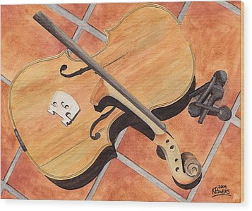The Broken Violin Wood Print by Ken Powers