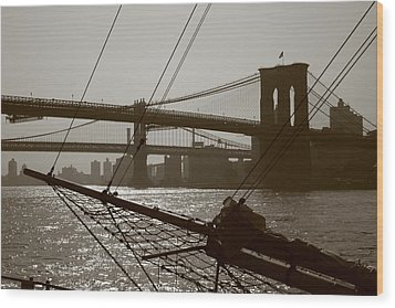 The Brooklyn And Manhattan Bridges Wood Print by Christopher Kirby