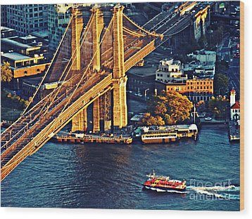 Wood Print featuring the photograph The Brooklyn Bridge At Sunset   by Sarah Loft
