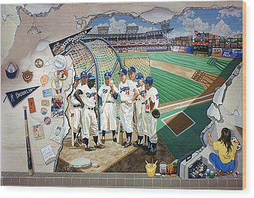 The Brooklyn Dodgers In Ebbets Field Wood Print