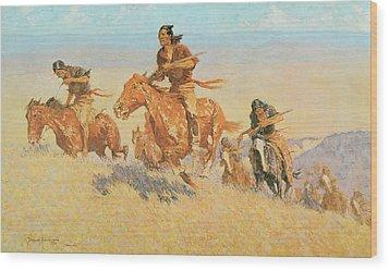 The Buffalo Runners Big Horn Basin Wood Print by Frederic Remington