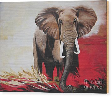Wood Print featuring the painting The Bull Elephant - Constitution by Sigrid Tune