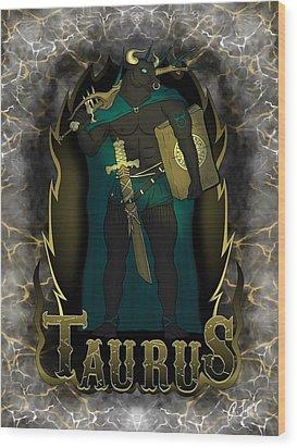 The Bull Taurus Spirit Wood Print