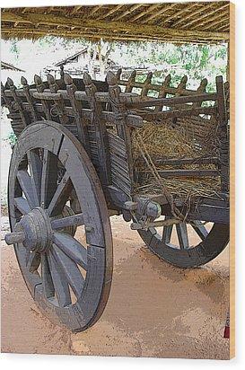 The Bullock Cart Wood Print by Padamvir Singh