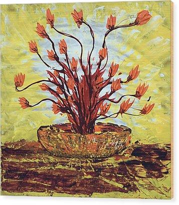 The Burning Bush Wood Print by J R Seymour