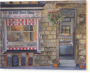 The Butcher Shop Wood Print by Victoria Heryet