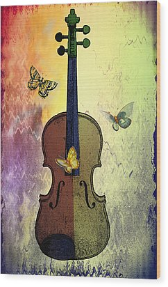 The Butterflies And The Violin Wood Print by Bill Cannon