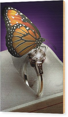The Butterfly And The Engagement Ring Wood Print by Yuri Lev