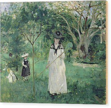 The Butterfly Hunt Wood Print by Berthe Morisot