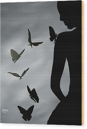 Wood Print featuring the painting The Butterfly Men by Edwin Alverio