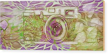 Wood Print featuring the digital art The Camera - 02c6t by Variance Collections