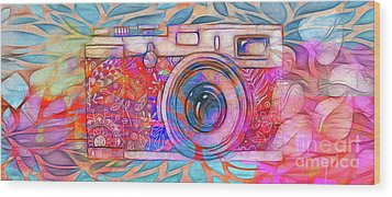 Wood Print featuring the digital art The Camera - 02v2 by Variance Collections