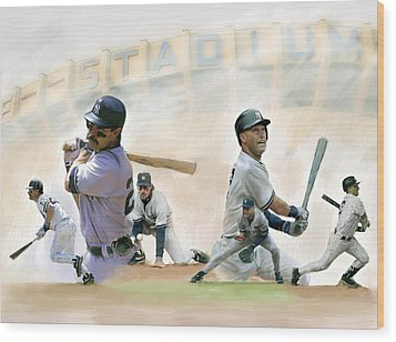 The Captains II Don Mattingly And Derek Jeter Wood Print by Iconic Images Art Gallery David Pucciarelli