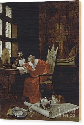 The Cardinal's Leisure  Wood Print by Charles Edouard Delort